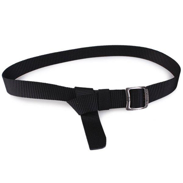 Rectangle Metallic Buckle Canvas Belt - BLACK