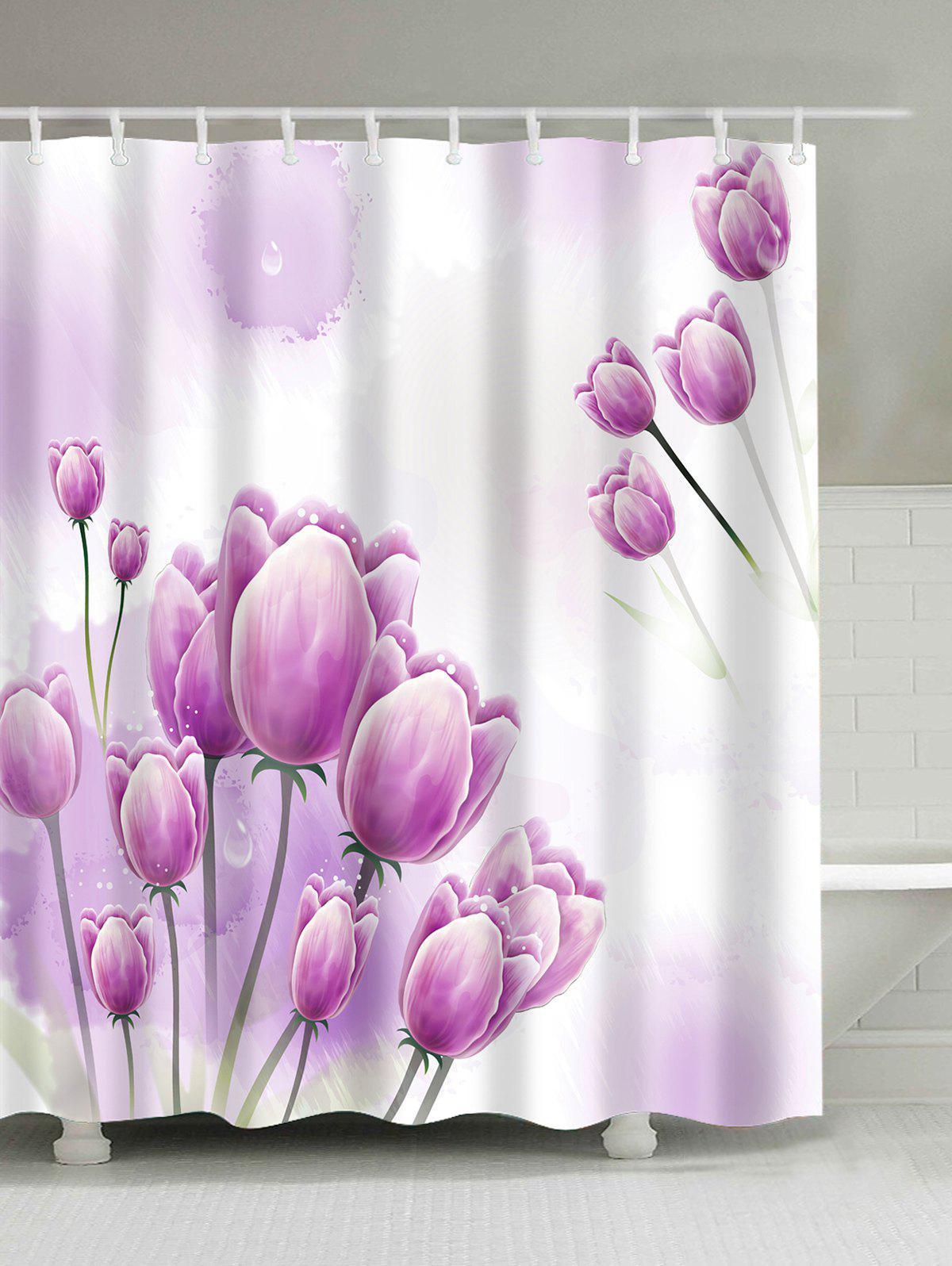 2018 Tulip Floral Waterproof Bathroom Shower Curtain PINK W INCH L ...