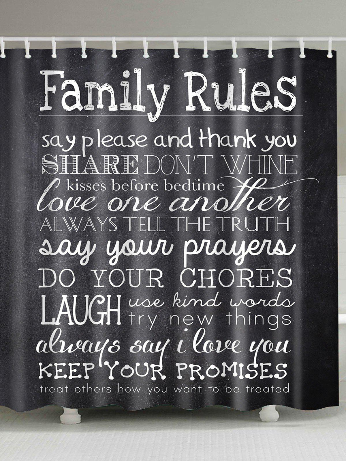 Family Rules Waterproof Shower Curtain