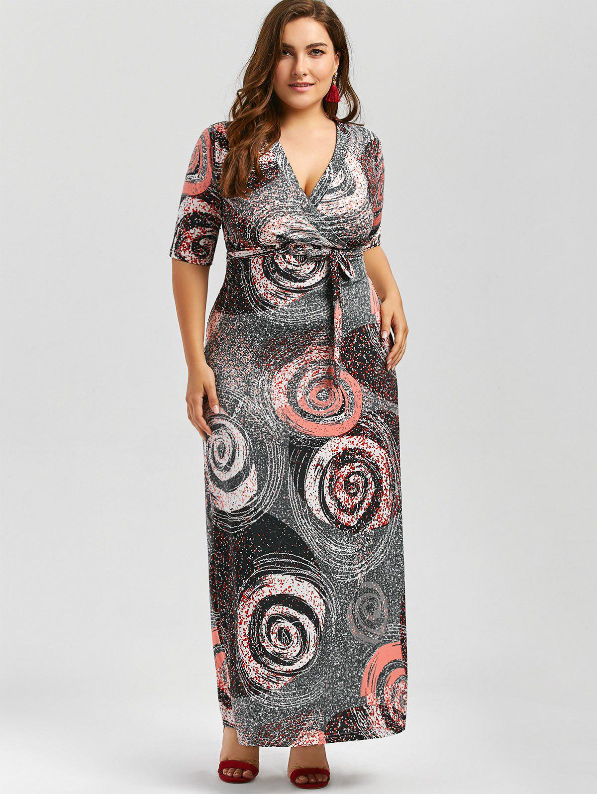 Galaxy Print Plus Size Floor Length Dress With Belt - COLORMIX 2XL