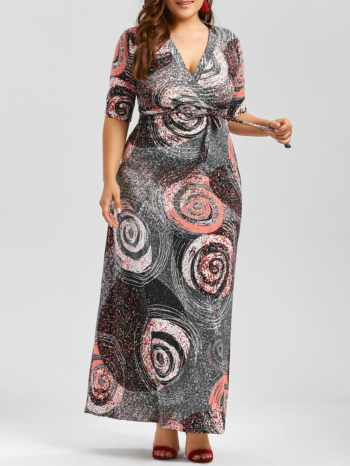 Galaxy Print Plus Size Floor Length Dress With Belt - COLORMIX 4XL