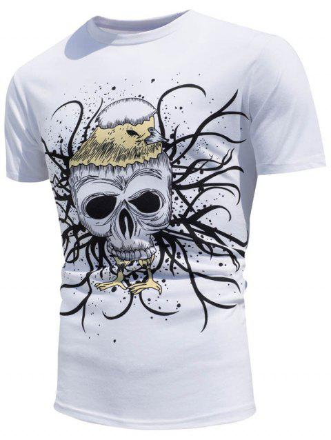 Color Changing Skull Printed T-Shirt - WHITE L