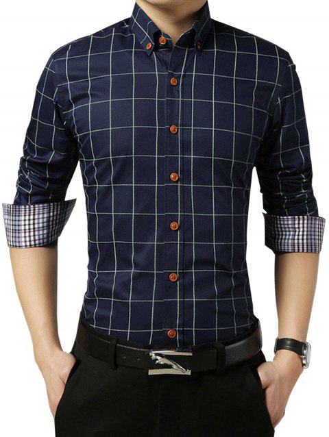 Grid Check Slim Long Sleeve Shirt - DEEP BLUE L