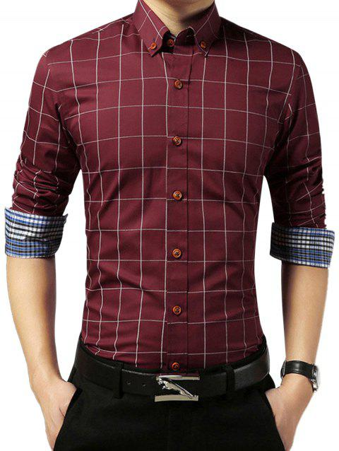 Grid Check Slim Long Sleeve Shirt - WINE RED L
