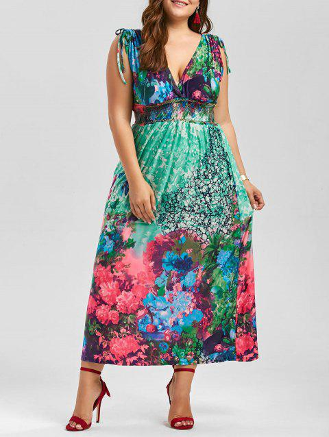 Floral Plunging Neck Sleeveless Maxi Plus Size Dress - multicolor XL