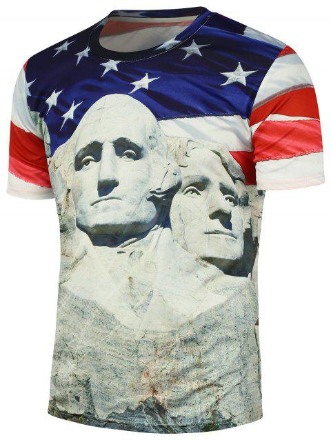 Mount Rushmore Printed Round Neck T-Shirt - COLORMIX XL