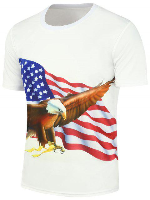 Short Sleeve 3D Eagle American Flag Printed T-Shirt - WHITE XL