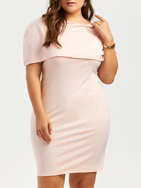 Plus Size Knee Length Bodycon Formal Cape Dress - LIGHT APRICOT PINK 5XL