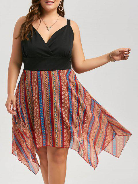 Plus Size Stripe Chiffon Surplice Handkerchief Dress - BLACK 5XL