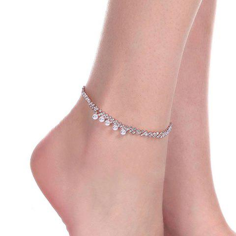 Artificial Pearl Rhinestoned Anklet - GOLDEN