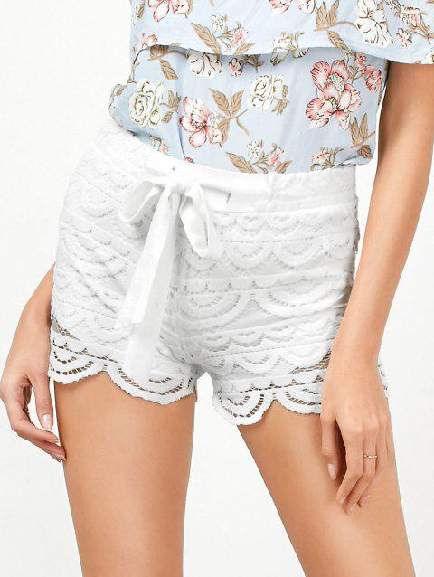 Drawstring Cut Off Crochet Lace Shorts - WHITE M