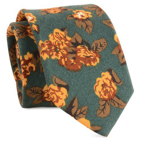 Cotton Blended Retro Flowers Printed Neck Tie - BLACKISH GREEN