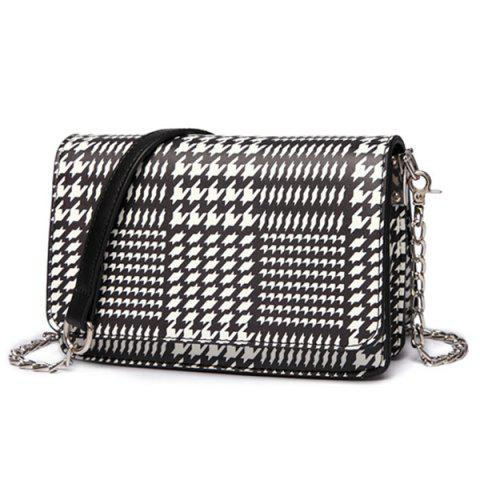 Chain Houndstooth Print Crossbody Bag - BLACK