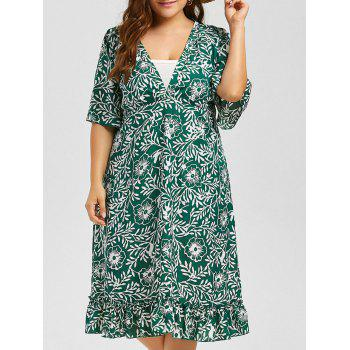 V Neck Floral A Line Plus Size Midi Dress
