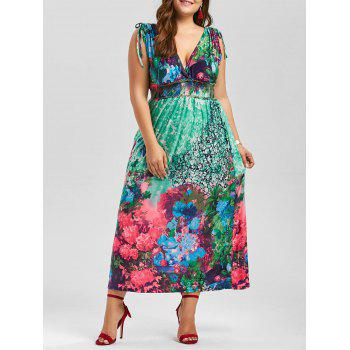 Floral Plunging Neck Sleeveless Maxi Plus Size Dress - MULTI multicolor