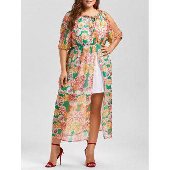Split Sleeve Chiffon Floral A Line Plus Size Dress