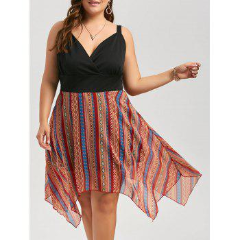 Plus Size Stripe Chiffon Surplice Handkerchief Dress