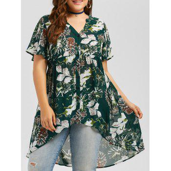Plus Size High Low Hem Floral Blouse