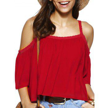 Spaghetti Strap Solid Color Loose Fitting Blouse - RED RED