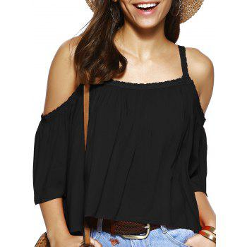 Spaghetti Strap Solid Color Loose Fitting Blouse - BLACK BLACK