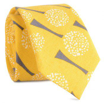 Cotton Blending Cartoon Dandelion Printing Tie - YELLOW YELLOW