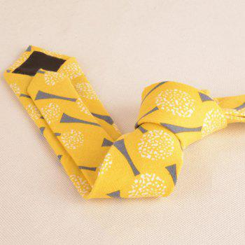 Cotton Blending Cartoon Dandelion Printing Tie -  YELLOW
