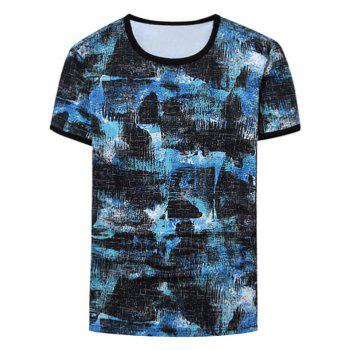 Short Sleeve Tie Dyed Ringer T-Shirt - BLUE 4XL