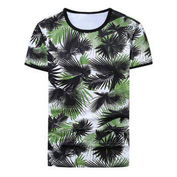 Leaves Print Ringer Tee