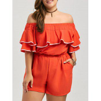 Plus Size Off The Shoulder Ruffle Culotte Romper with Pocket