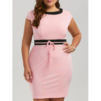 Plus Size Contrast Sleeveless Mini Bodycon Dress - PINK PINK