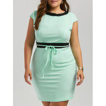 Plus Size Contrast Sleeveless Mini Bodycon Dress