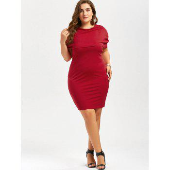Plus Size Knee Length Bodycon Formal Cape Dress - RED 3XL
