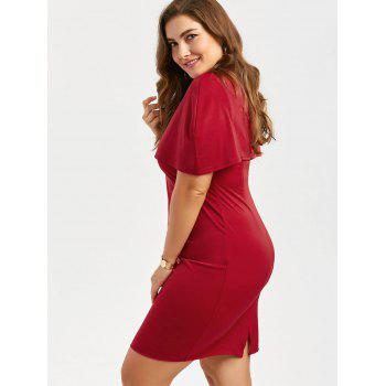 Plus Size Knee Length Bodycon Formal Cape Dress - RED RED