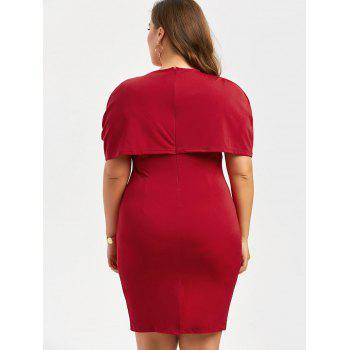 Plus Size Knee Length Bodycon Formal Cape Dress - RED 5XL