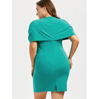 Plus Size Knee Length Bodycon Formal Cape Dress - BLUE GREEN BLUE GREEN
