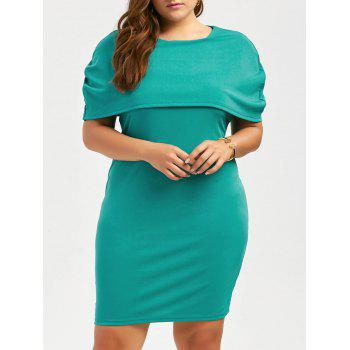 Plus Size Knee Length Bodycon Formal Cape Dress