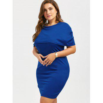 Plus Size Knee Length Bodycon Formal Cape Dress - BLUE 3XL