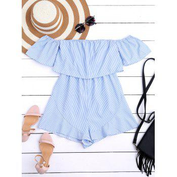 Off The Shoulder Flounce Striped Romper