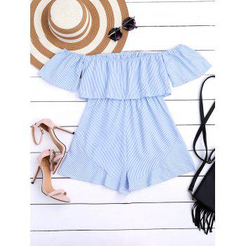 Off The Shoulder Flounce Striped Romper - S S