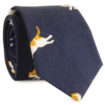 Cotton Blending Cartoon Kitten Printing Neck Tie - CADETBLUE CADETBLUE