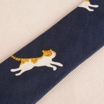 Cotton Blending Cartoon Kitten Printing Neck Tie -  CADETBLUE