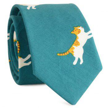 Cotton Blending Cartoon Kitten Printing Neck Tie - GREEN GREEN