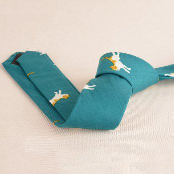 Cotton Blending Cartoon Kitten Printing Neck Tie -  GREEN
