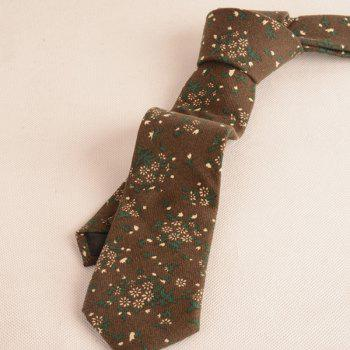 Cotton Blended Tiny Floral Printed Neck Tie -  COFFEE