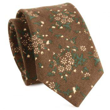 Cotton Blended Tiny Floral Printed Neck Tie - COFFEE COFFEE