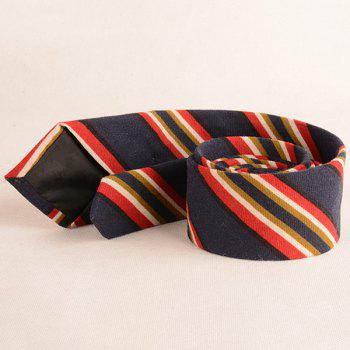 Cotton Blending Diagonal Striped Tie -  CADETBLUE