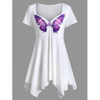 Sweetheart Neck Butterfly Print Asymmetrical Tee
