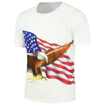 Short Sleeve 3D Eagle American Flag Printed T-Shirt