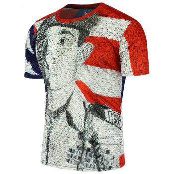 Short Sleeve American Flag Soldier Printed T-Shirt