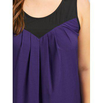 Plus Size Curved Two Tone Tank Top - PURPLE 4XL
